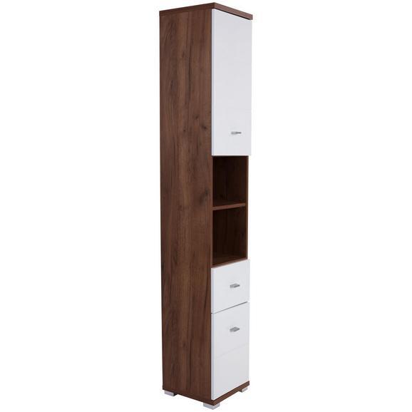 Dulap Înalt Bari - alb/culoare lemn stejar, Konventionell, compozit lemnos (35,5/190/31,5cm)