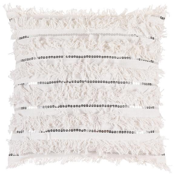 Zierkissen Janis in Weiß, ca. 45x45cm - Silberfarben/Weiß, LIFESTYLE, Textil (45/45cm) - MÖMAX modern living