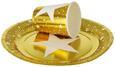 Jednokratna Čaša Liva - bijela/boje zlata, Basics, papir (8,5cm)