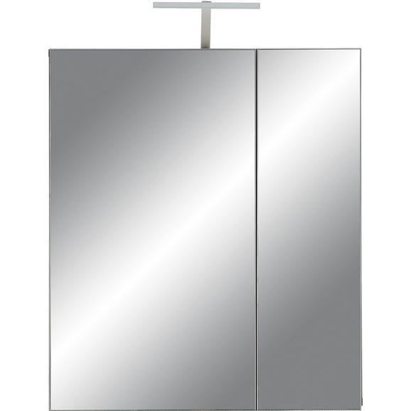 Dulap Cu Oglindă Santorin - Maro închis, Konventionell, Sticlă/Compozit lemnos (65/75/22cm) - Premium Living