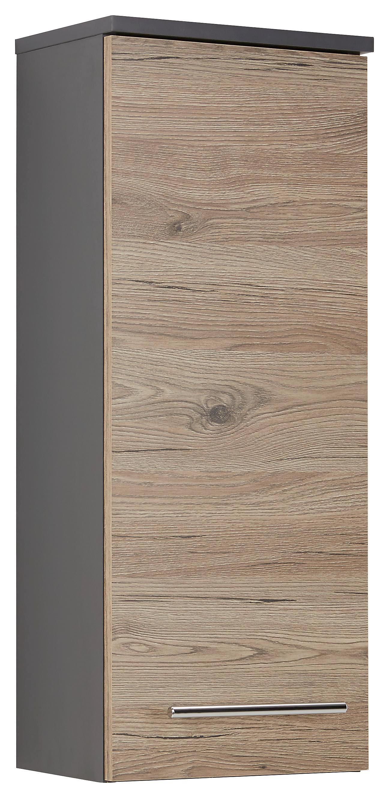 Oberschrank in Eiche/anthrazit - Chromfarben/Eichefarben, MODERN, Holzwerkstoff/Metall (30/75/21cm)