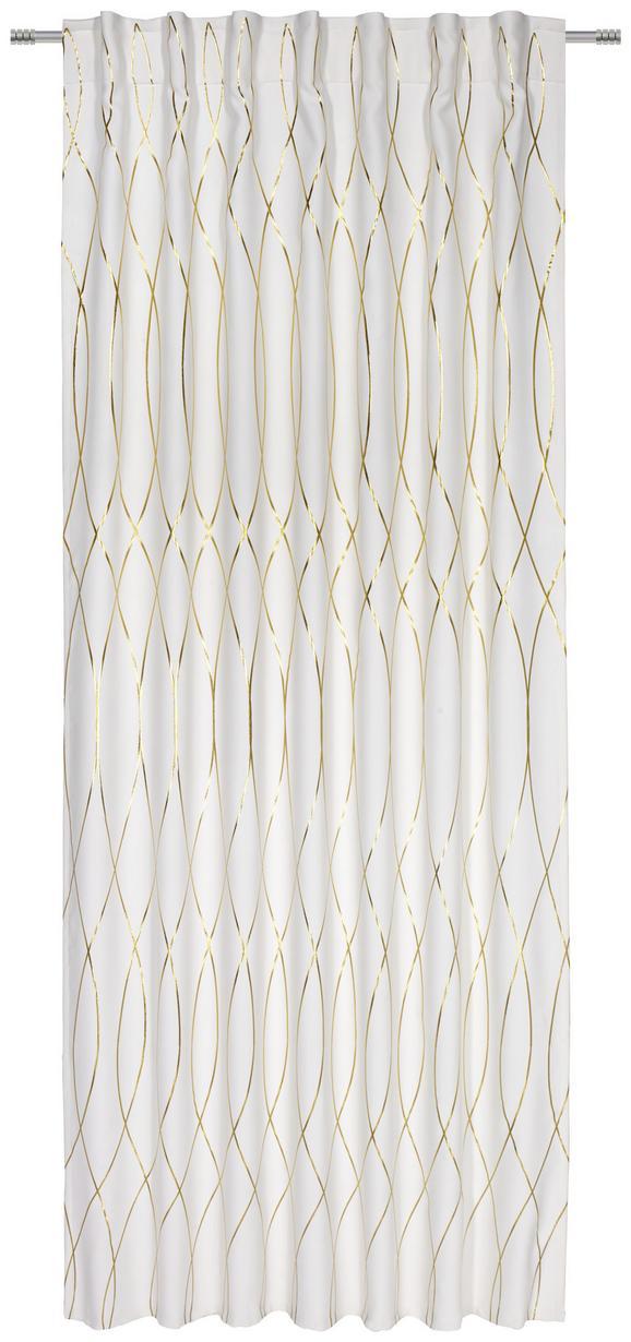 Verdunkelungsvorhang Glamour, ca. 140x245cm - Goldfarben/Weiß, LIFESTYLE, Textil (140/245cm) - Mömax modern living