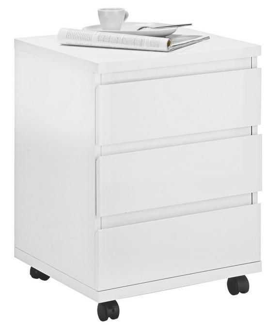 Rollcontainer Weiß Hochglanz - Weiß, MODERN, Holzwerkstoff/Kunststoff (42/58,5/42cm) - Mömax modern living
