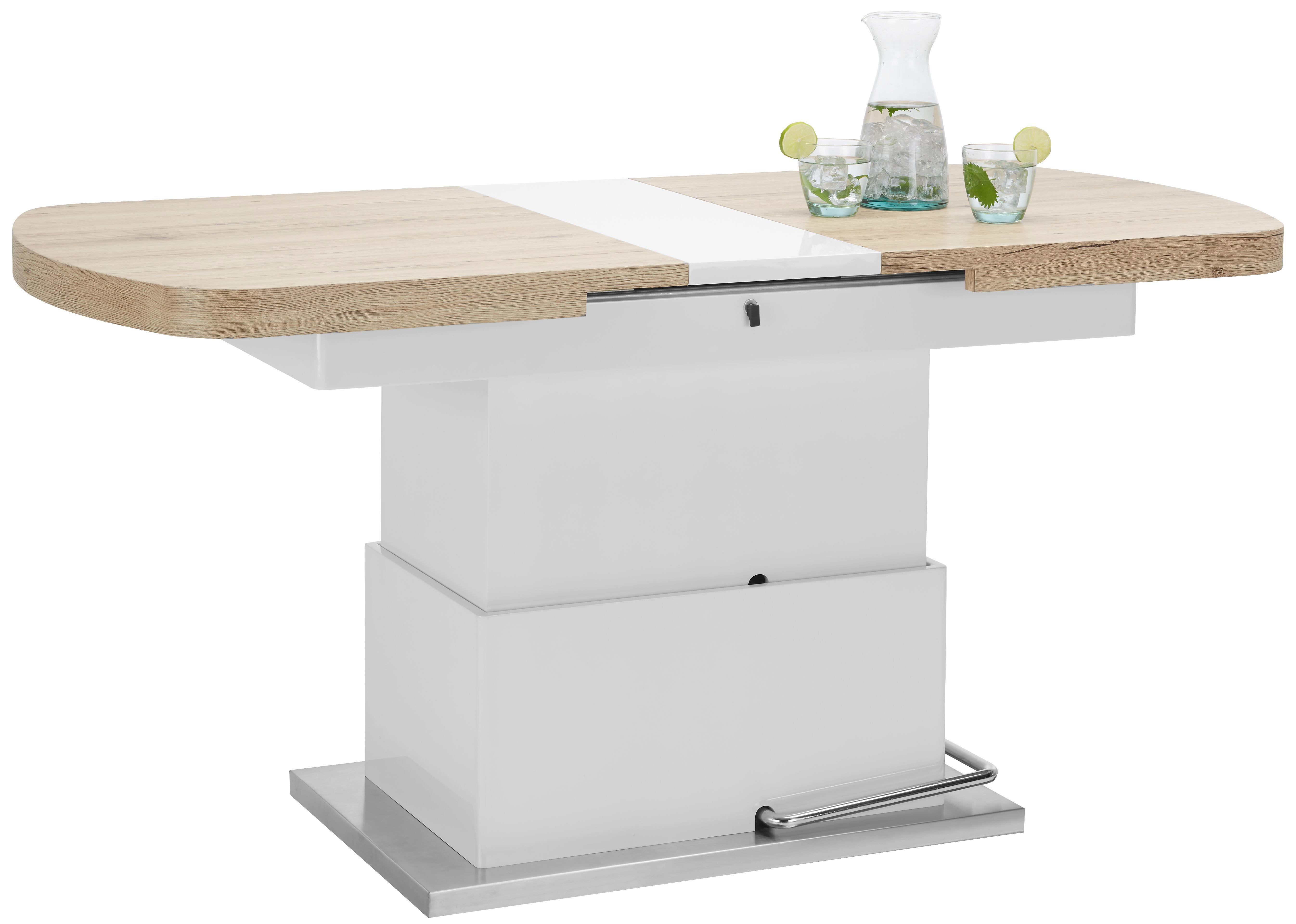 Couchtisch Weiß Hochglanz/eichefarben - Edelstahlfarben/Weiß, MODERN, Holzwerkstoff/Metall (135-160/50-78/75cm) - PREMIUM LIVING