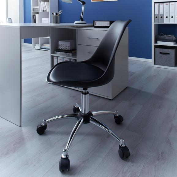 Drehstuhl Nico mit gepolstertem Sitz - Chromfarben/Schwarz, MODERN, Kunststoff/Metall (58/80,5/64cm) - Bessagi Home