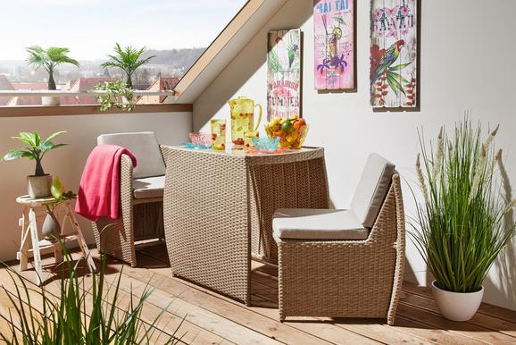 Balkonset Sevilla in Beige/hellbraun - Hellbraun/Beige, MODERN, Glas/Kunststoff (75/56/56/72/67/67/63/60/60cm) - MÖMAX modern living