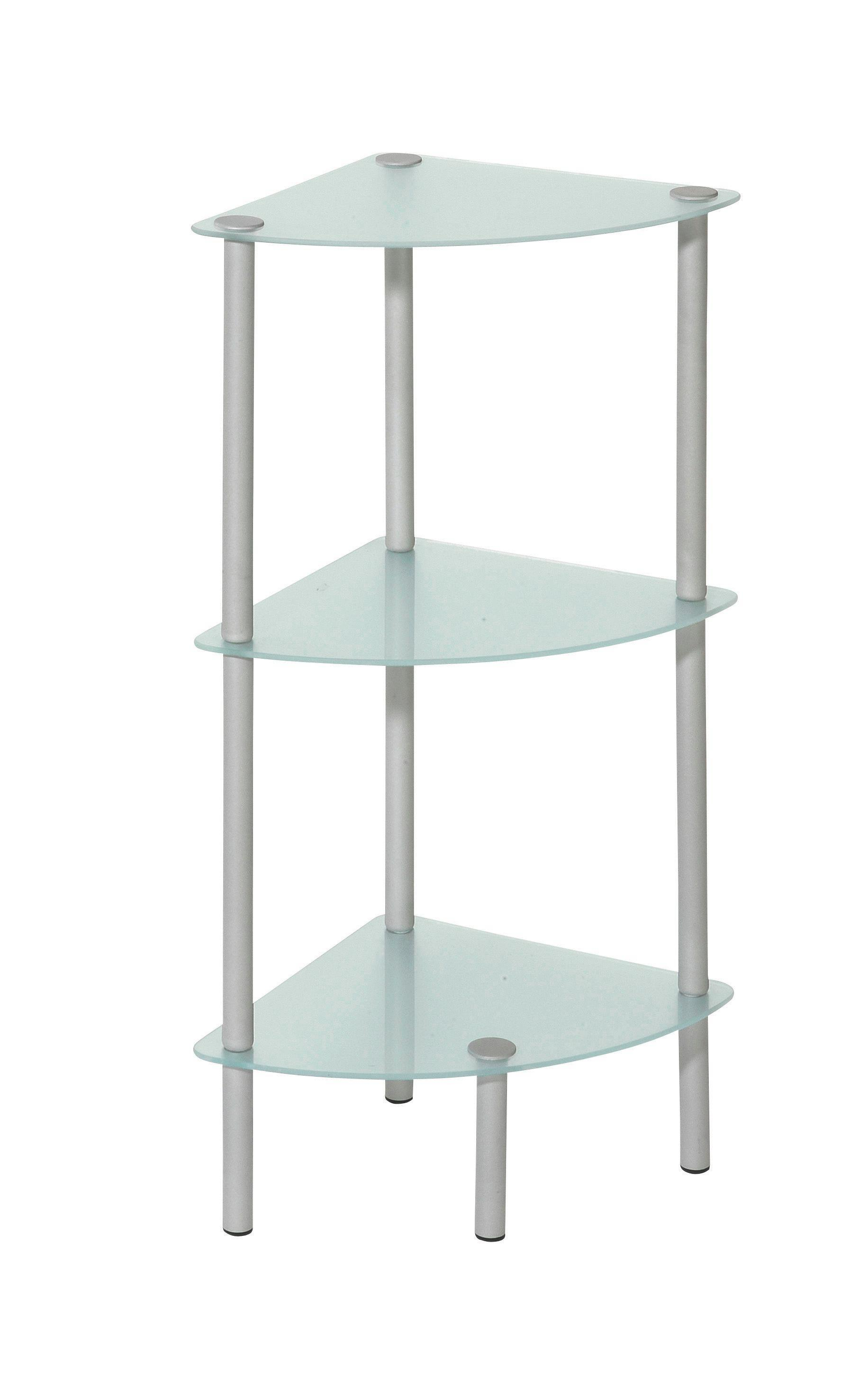 Badezimmerregal in Alufarben, 3 ablagen - Alufarben, Glas/Metall (30/74/30cm) - MÖMAX modern living