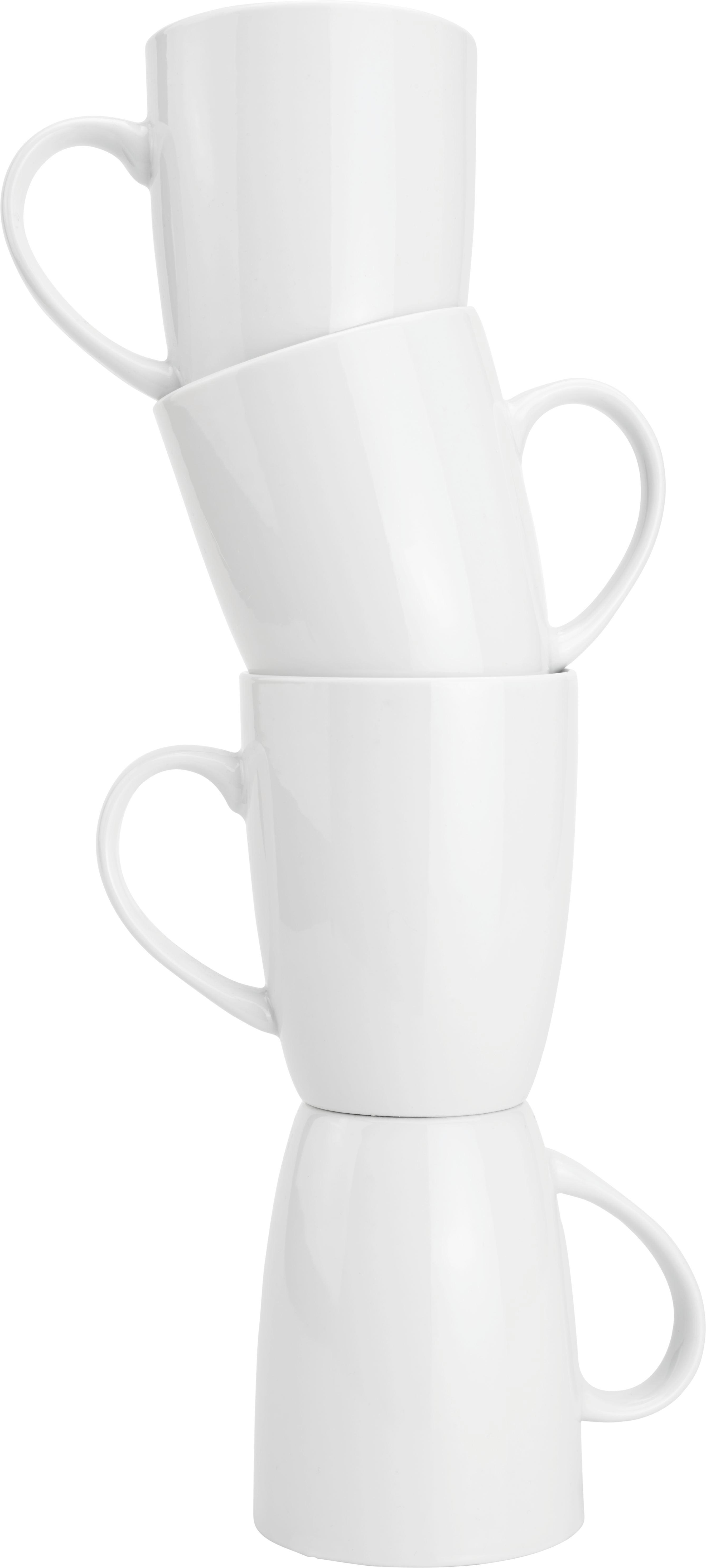 Kaffeebecher Katrin in Weiß, ca. 330ml - Weiß, KONVENTIONELL, Keramik (8/10cm) - BASED