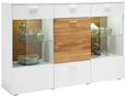 Highboard Weiß/Eiche - Chromfarben/Eichefarben, MODERN, Glas/Holz (177/117/42cm) - PREMIUM LIVING
