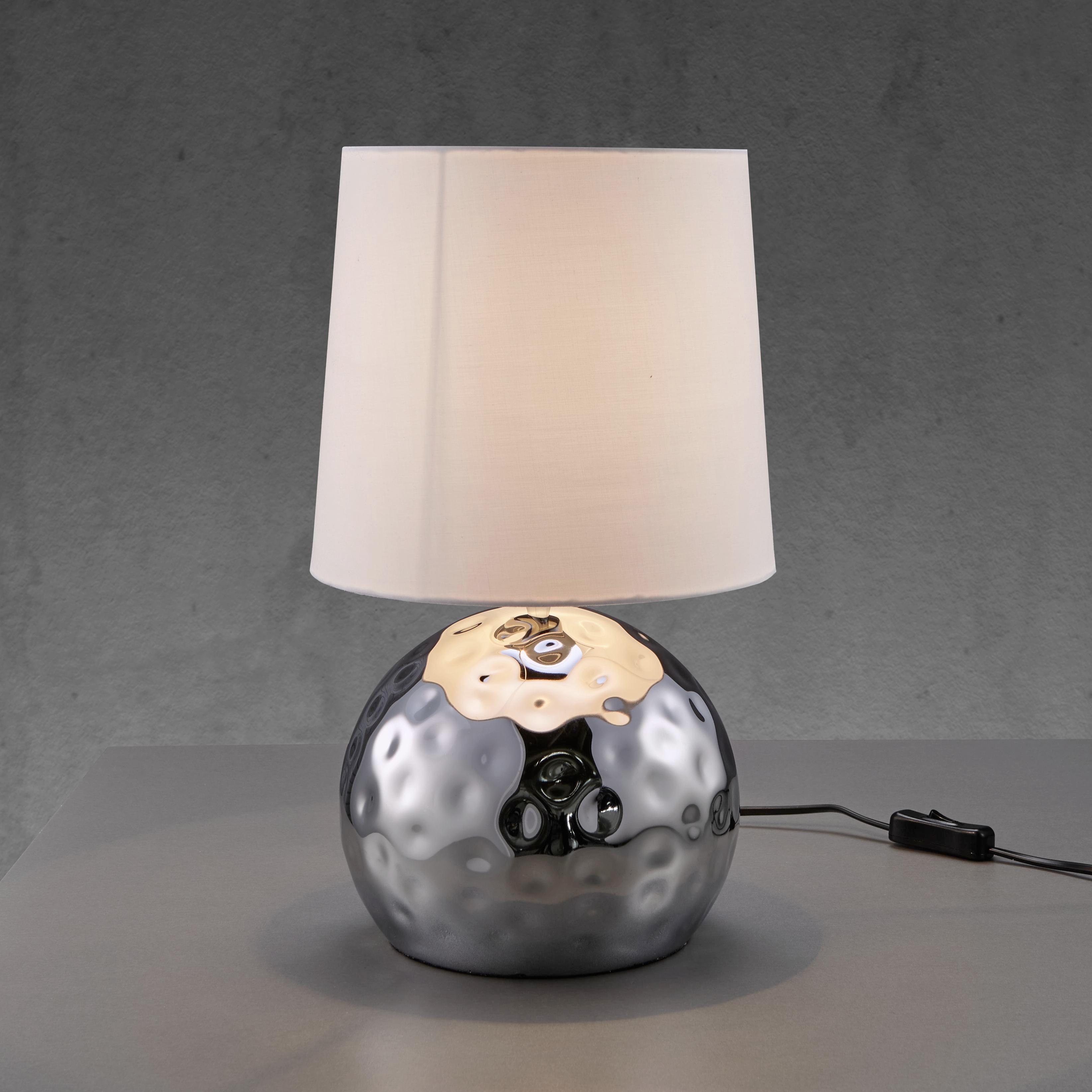 Tischleuchte Cecilia - Chromfarben/Silberfarben, MODERN, Textil/Metall (23/39cm) - MÖMAX modern living