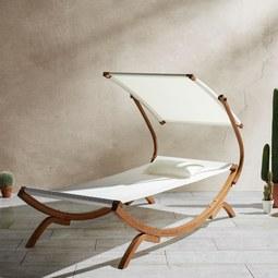 Relaxliege Curtys inkl. Sonnendach und Kissen - Creme/Teakfarben, MODERN, Holz/Textil (224/108/150cm) - Modern Living