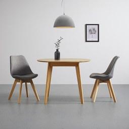 Esstisch aus Eiche ca. Ø 100 cm 'Leano' - Eichefarben, MODERN, Holz (100/100/75cm) - Bessagi Home