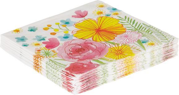 Serviette Flowers in Bunt - Multicolor/Weiß, Papier (33/33cm)