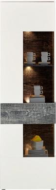 Vitrine Weiß/Grau/eiche - Chromfarben/Eichefarben, MODERN, Glas/Holzwerkstoff (60,4/203,3/41,3cm) - MÖMAX modern living