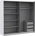 Schwebetürenschrank Weiß Hochglanz/Beton - Eichefarben/Alufarben, KONVENTIONELL, Holzwerkstoff/Kunststoff (220/210/62cm) - Modern Living