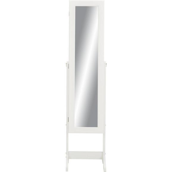 Schmuckschrank in Weiß mit Spiegel - Weiß, MODERN, Glas/Holz (34/145/38cm) - Modern Living