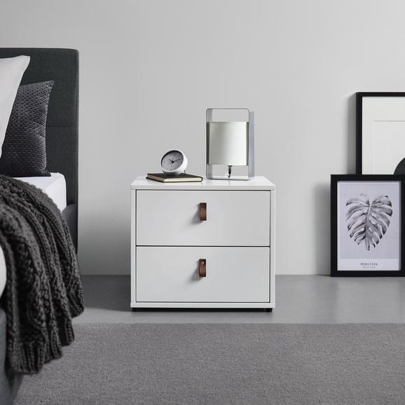 NACHTKÄSTCHEN in weiß 'Mick' - Schwarz/Weiß, MODERN, Holzwerkstoff/Kunststoff (46/40/40cm) - Bessagi Home