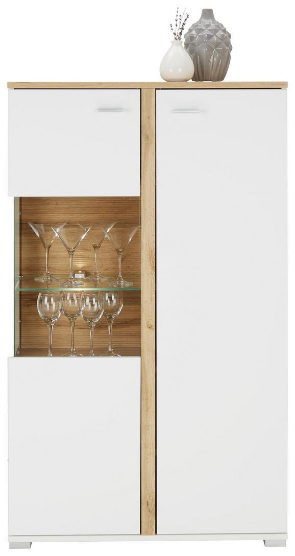 Highboard in Weiß/Eichefarben - Chromfarben/Eichefarben, MODERN, Holzwerkstoff/Metall (78/131/37cm) - MODERN LIVING