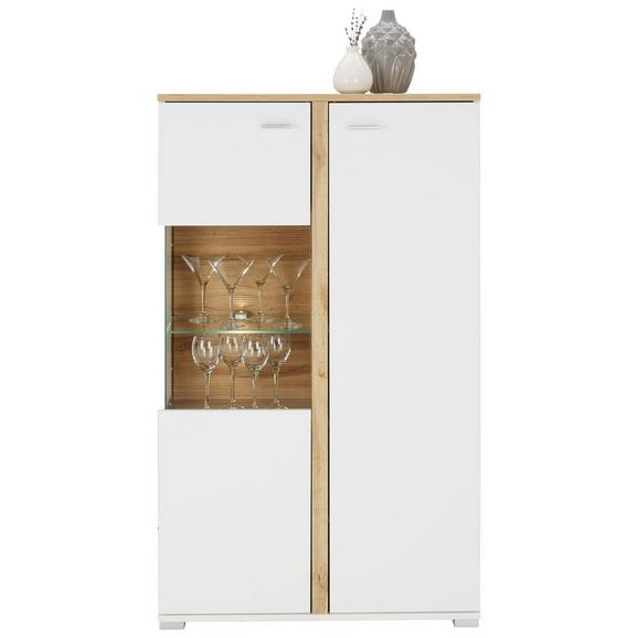 Visoka Komoda Alamo - bela/hrast, Moderno, kovina/leseni material (78/131/37cm) - Modern Living