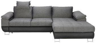 Sarokgarnitúra Focus - Szürke/Fekete, modern, Textil (268/91/170cm) - Modern Living