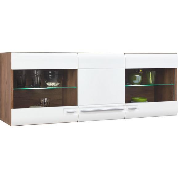 Vitrina Viseća Avensis - bijela/boje hrasta, Modern, staklo/drvni materijal (140/52/37,1cm) - Modern Living