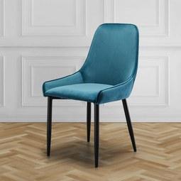 Stuhl Enna - Petrol/Schwarz, MODERN, Holz/Textil (48/85/58cm) - Mömax modern living