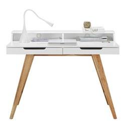 Schreibtisch in Weiß/Braun - Braun/Weiß, MODERN, Holz/Holzwerkstoff (110/85/58cm) - ZANDIARA