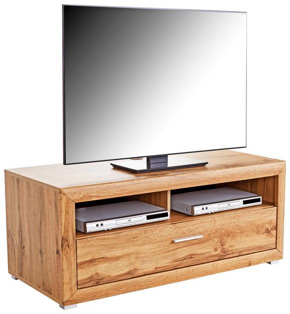 Tv - Elem Tizio - tölgy színű, modern, faanyagok (125/48,4/49,5cm)