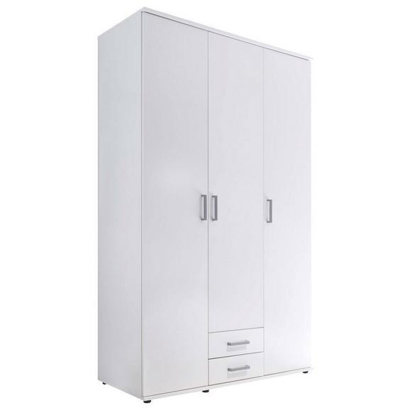 Drehtürenschrank in Weiß - Alufarben/Weiß, Holzwerkstoff/Kunststoff (120/195/55cm) - Modern Living