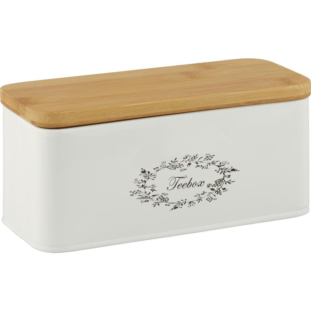 Teebox Lore in Weiß aus Echtholz