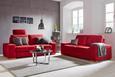 Dreisitzer-Sofa Rot - Eichefarben/Rot, KONVENTIONELL, Holzwerkstoff (208/88/95cm) - Premium Living