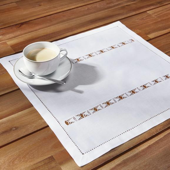 Tischset in Weiß ca.40/40cm ''Mona'' - Weiß, ROMANTIK / LANDHAUS, Textil (40/40cm) - Bessagi Home