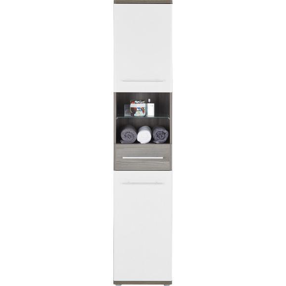 Magasszekrény Santorin - Sötétbarna/Fehér, konvencionális, Faalapú anyag (40/195/35cm)