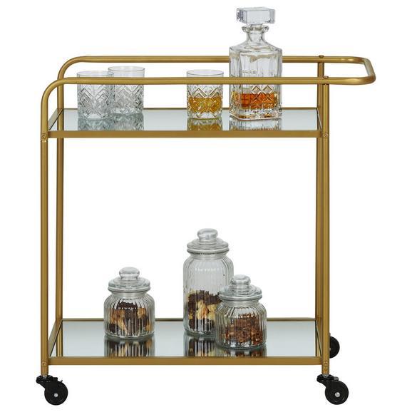 Servierwagen aus Metall in Goldfarben - Goldfarben, Trend, Glas/Kunststoff (70/70/35cm) - Modern Living