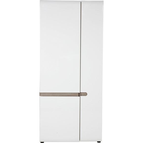 Garderobenschrank Weiß Hochglanz/Eichefarben - Trüffeleichefarben/Weiß, MODERN, Holzwerkstoff (85/195/37cm) - Mömax modern living