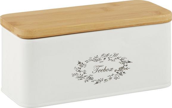 Teebox Lore Weiß Echtholz - Weiß, ROMANTIK / LANDHAUS, Holz/Metall (20/8,5/8,5cm) - Zandiara