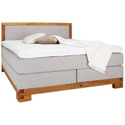 Boxspringbett aus Eiche massiv ca. 160x200cm - Eichefarben/Grau, KONVENTIONELL, Holz/Textil (160/200cm) - Zandiara