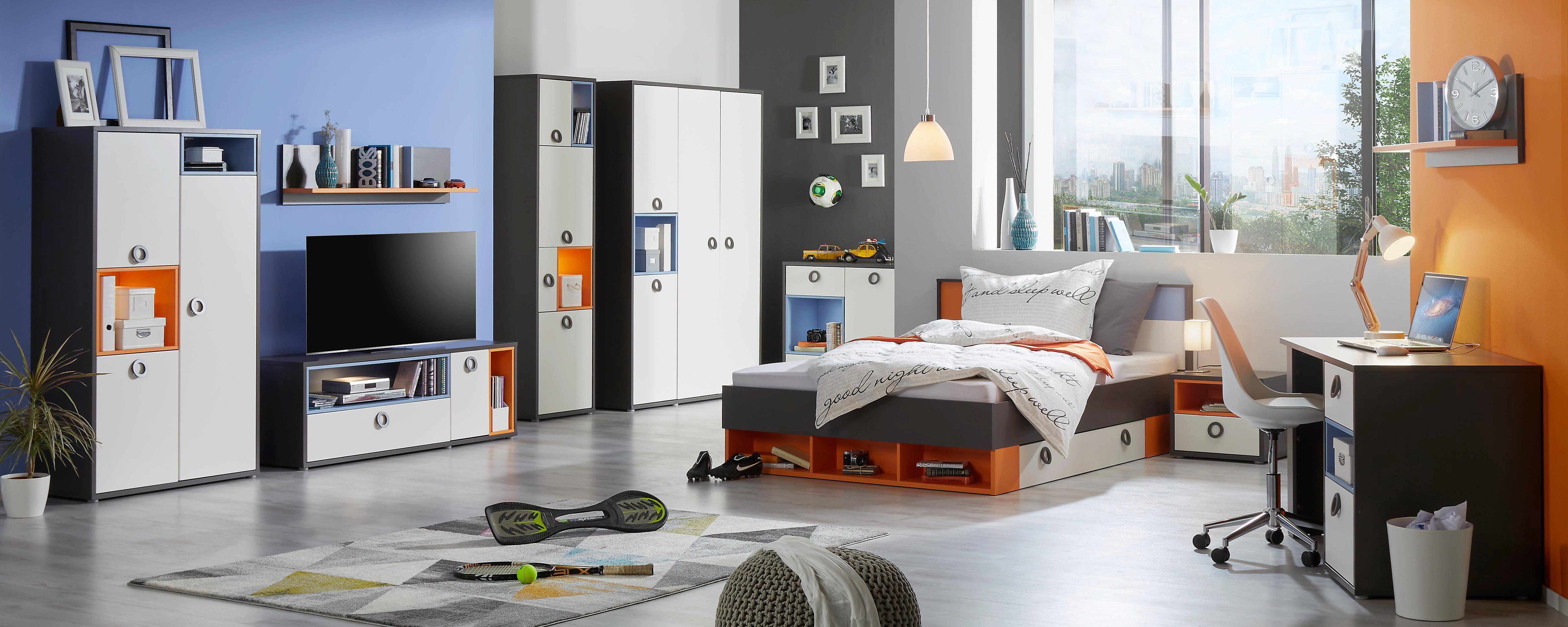 Bett in Bunt, ca. 140x200cm - Blau/Orange, KONVENTIONELL, Holzwerkstoff/Kunststoff (150/84/208cm) - MODERN LIVING