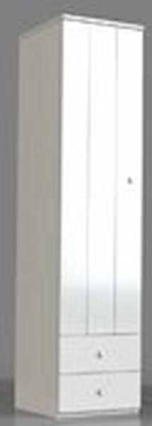 Kleiderschrank in Weiß - Silberfarben/Weiß, ROMANTIK / LANDHAUS, Holzwerkstoff/Metall (50/220/63cm) - ZANDIARA