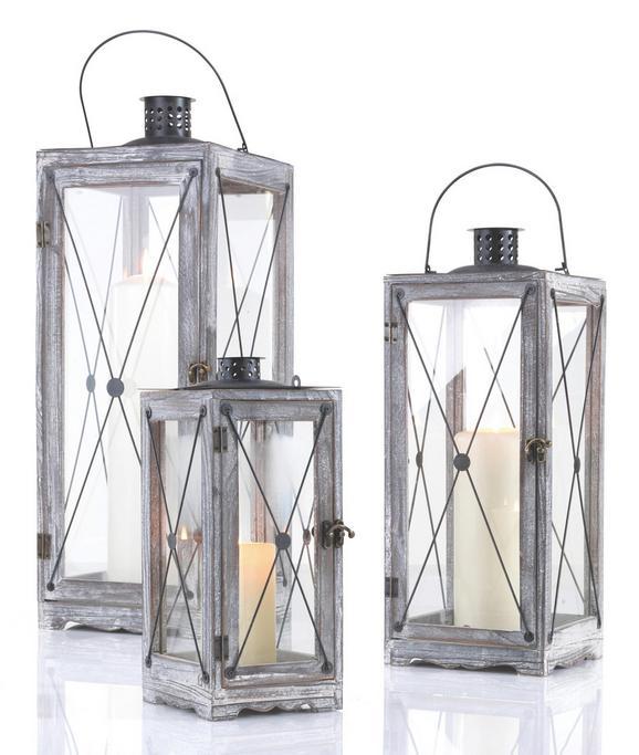Laterna Luna - L - črna/rjava, Romantika, kovina/steklo (25/71/25cm) - Mömax modern living