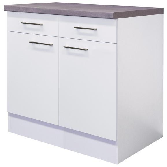 Küchenunterschrank Weiß - Edelstahlfarben/Weiß, MODERN, Holzwerkstoff/Metall (80/86/60cm) - FlexWell.ai