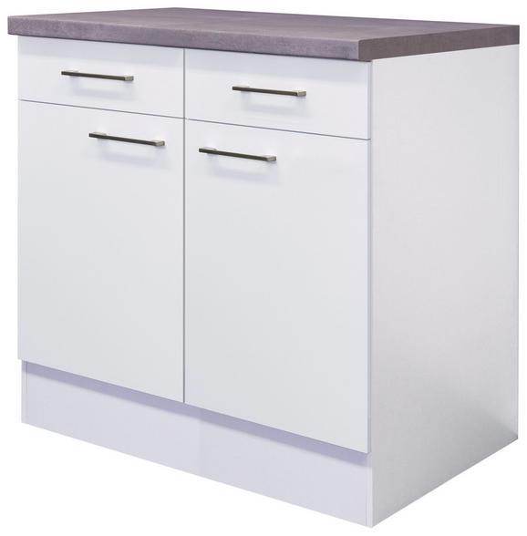 Küchenunterschrank Weiß - Edelstahlfarben/Weiß, MODERN, Holzwerkstoff/Metall (80/86/60cm)