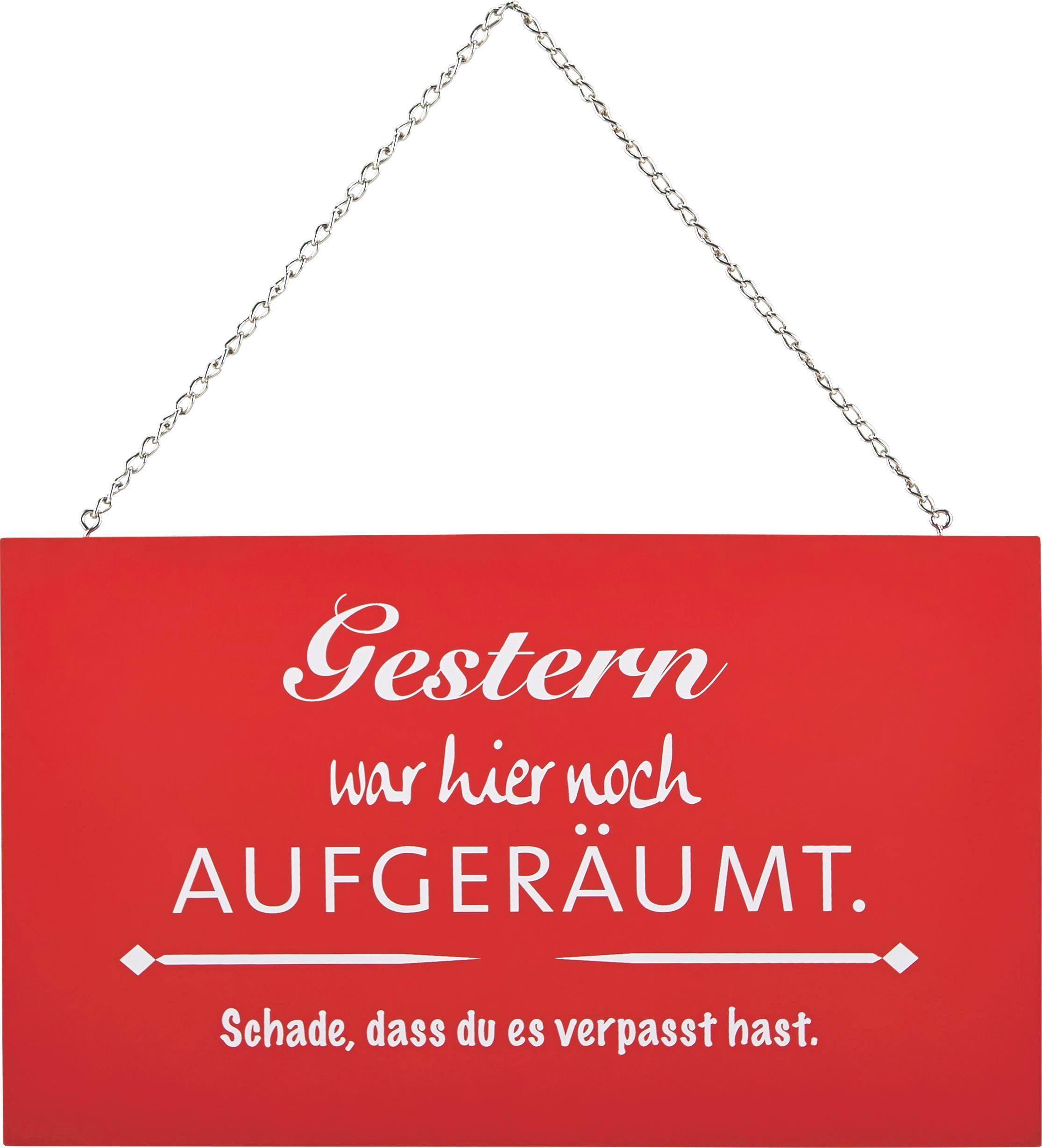 Dekoschild Reimi in Rot/Weiß - Rot/Weiß, Holzwerkstoff/Metall (23,2/13,5/0,5cm) - MÖMAX modern living