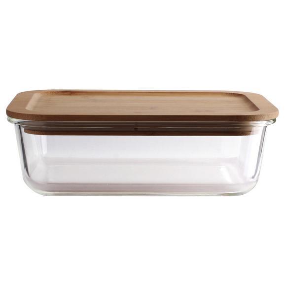 Frischhaltedose Annegret ca. 700ml - Klar/Transparent, Glas/Holz (19,7/14,6/6,6cm) - Zandiara