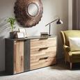 Kommode in Eichefarben - Eichefarben/Dunkelgrau, KONVENTIONELL, Holzwerkstoff/Kunststoff (139,5/82,4/41,5cm) - Modern Living