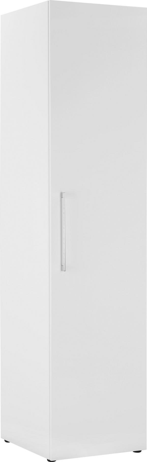 Drehtürenschrank Kristallweiß Hochglanz - Edelstahlfarben/Weiß, MODERN, Holzwerkstoff/Metall (50/206/57cm) - Modern Living