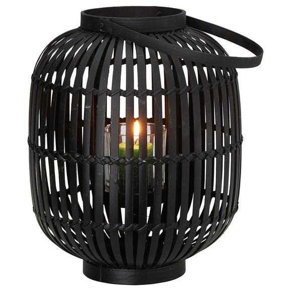 Laterna Palma - črna, steklo/les (24cm) - Mömax modern living