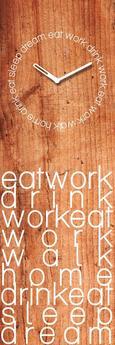 Stenska Ura Eat Work Drink - svetlo rjava/bela, Konvencionalno, kovina/steklo (20/60/3,5cm)