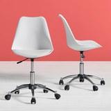 Drehstuhl Nico mit Gepolstertem Sitz - Chromfarben/Weiß, MODERN, Kunststoff/Metall (58/80,5/64cm) - Modern Living