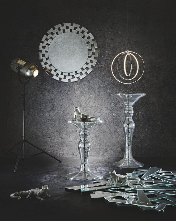 Blumensäule in Silberfarben - Silberfarben, Glas/Kunststoff (45/93/45cm) - Premium Living